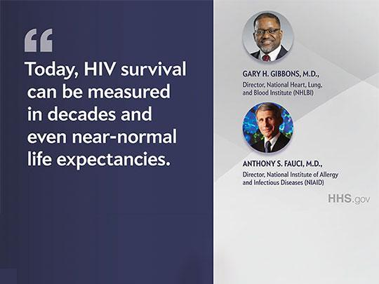 Today, HIV survival can be measured in decades and even near-normal life expectancies. Portraits of Gary H. Gibbons, M.D. and Anthony S. Fauci, M.D.