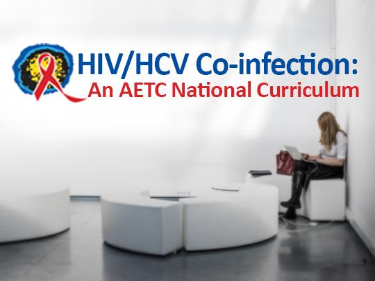 Image of an open room with a woman studying on a laptop, featuring a red ribbon icon and the text: HIV/HCV Co-infection: An AETC National Curriculum