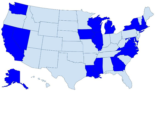 Map of the United States with the following states highlighted in a darker blue: Washington, California, Alaska, Nevada, Iowa, Wisconsin, Illinois, Michigan, Louisiana, Mississippi, Georgia, Virginia, North Carolina, Maryland, New York, MA, CT, and NH