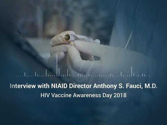 "Image of video cover with text: ""Interview with NIAID Director Anthony S. Fauci, M.D."