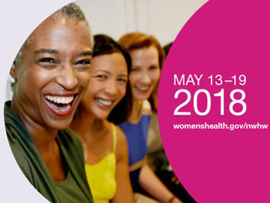 Graphic featuring women smiling and text for National Women's Health Week, May 13-19