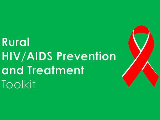Graphic with a red ribbon and text: Rural HIV/AIDS Prevention and Treatment Toolkit