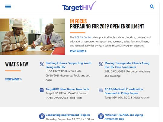 A screen grab of the new TargetHIV home page. The lead headline is: In Focus - Preparing for 2019 Open Enrollment