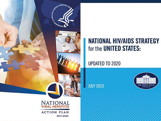 Covers of the National Viral Hepatitis Action Plan and the National HIV/AIDS Strategy for the United States: Updated to 2020.
