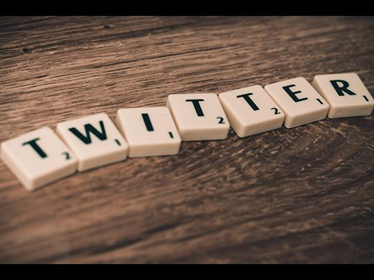 Scrabble tiles spell out the word Twitter