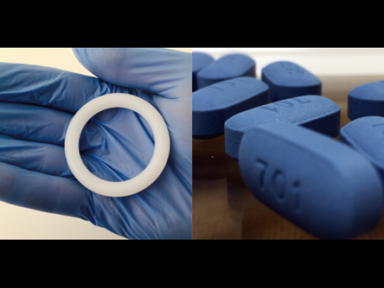 Photo of the ring and a Truvada pill