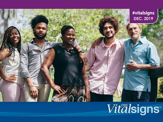 Photo of 5 people with CDC Vital Signs logo. #vitalsigns. Dec. 2019.