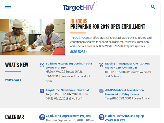 "Screen grab from the new TargetHIV home page. The lead headline is ""In Focus: Preparing for 2019 Open Enrollment""."