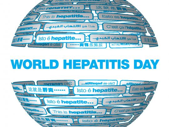 "World Hepatitis Day logo - made up of a globe shaped with translations of ""This is hepatitis"""